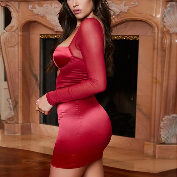 NewAsia Sexy Cut-Out Raso Mini abito Donna Maniche lunghe a rete Busto con coppa curva Abito aderente senza schienale Abito da festa estivo rosso 2019