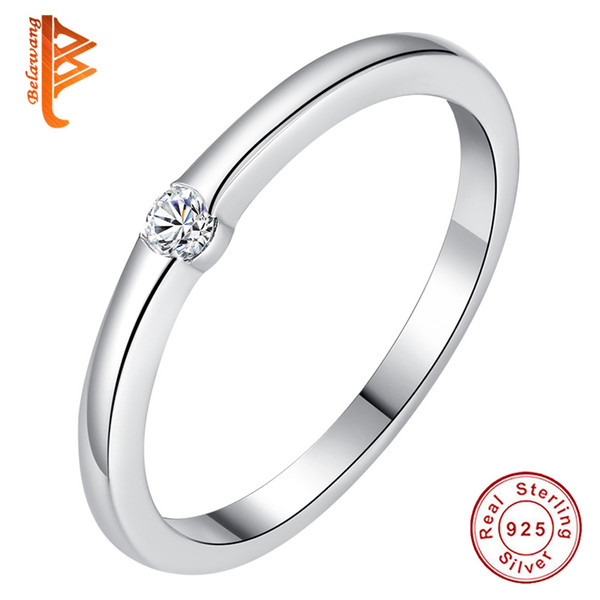 BELAWANG Real 100% 925 Sterling Silver Rings Sparkling Round Clear CZ Finger Ring for Women Wedding Engagement Jewelry Bijoux