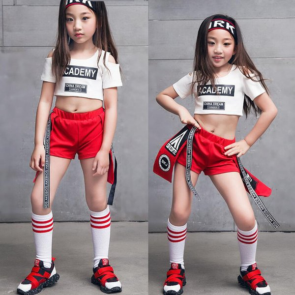 Kinder Cheerleader Ballsaal Jazz Hip Hop Dance Performance Kostüm Tank Top Shirt Shorts Mädchen Junge Bühnenkleidung Tanzen Outfits Kind