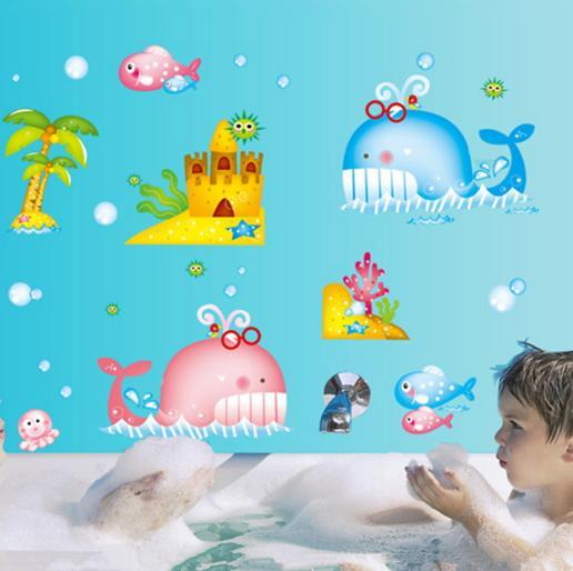 Baleine Stickers Muraux Art Decal Amovible Papier Peint Mural Autocollant pour Chambre D'enfant Chambre Filles Salon Adhésif Décoratif Mignon
