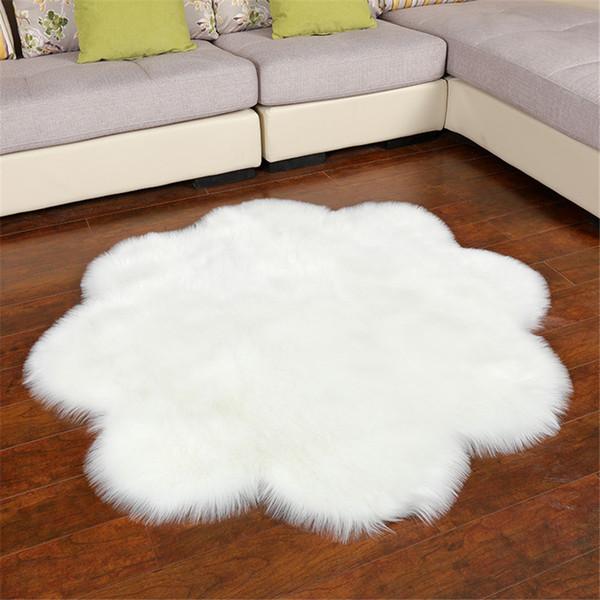 120CM White Cloud Carpet Furry Rug Kids Room Big Carpet For living Room Flower Design Mat Christmas Decoration Carpet