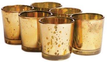 Набор из 24 Bulk Mercury Wedding Gold Цвет стекла Вотив держатель, Usd49 0,92 Для 24pcs / Каждый 2 +0,08