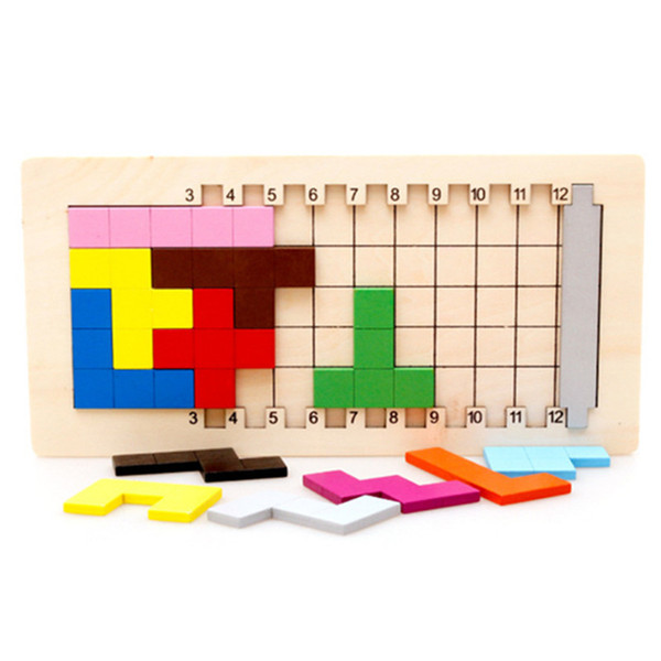 Baby Educational Toys Katamino Blocks Wood Learning Tetris Blocks Tangram Slide Building Blocks Children Wooden Toys Gift MX190730
