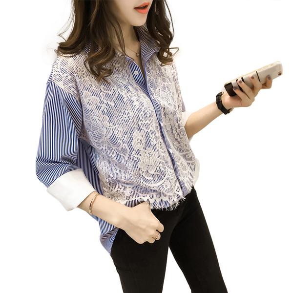 Camicette casuali della molla di autunno della molla di formato superiore di 4XL più le donne superiori allentano le camice larghe della banda della manica lunga di modo V460