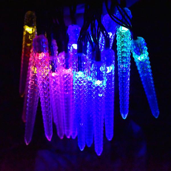 O diodo emissor de luz do sincelo solar psto luzes da corda, 16ft 20LED luzes de Natal feericamente Decoração decorativa da iluminação exterior, jardim, pátio