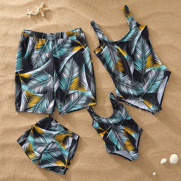 Mama und ich Badeanzug Strandurlaub Tropical Leaf Print Einteilige Badeanzüge Mutter Tochter Strand Shorts Männer Jungen Bademode D061