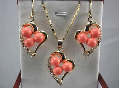 Authentic Jewelry green jade red coral heart-shaped Pendant Necklace Earrings set 18K Gold Plated Women Wedding free shipping