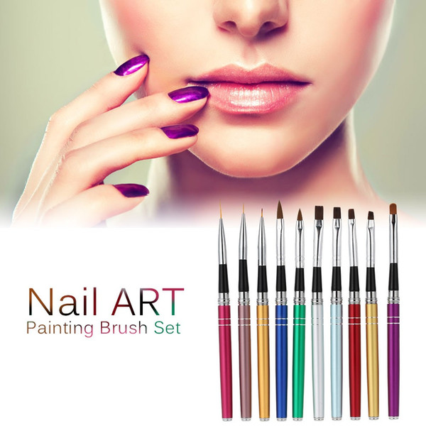 10 Pcs Nail Art Design Polonais Brosses Dotting Pen UV Gel Ongles Gel Polonais Brosse Manucure Peinture Ongle Outil