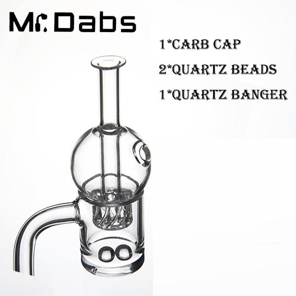 25mm OD Quartz Banger with Cyclone riptide Carb Cap with 2 Quartz Beads Set for sale for Glass Bong Dab Oil Rigs