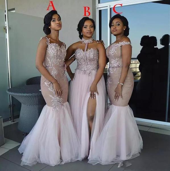 Vestidos de dama de honor de sirena africana rosada Apliques de estilo mixto largo Hombro Vestido de invitados de boda Vestidos de dama de honor de lado dividido Vestido de fiesta