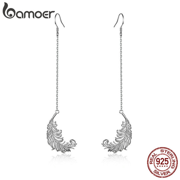 Vintage 925 Sterling Silver Feathers Shape Long Chain Drop Earrings Fashion Pretty Women Accessories Engagement Anniversary Birthday Gift