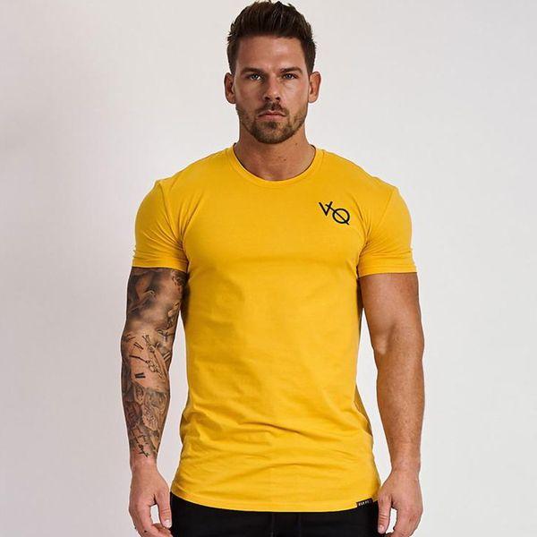 Hommes Coton T-shirt à manches courtes Mode Casual Slim t-shirt Jaune Gymnases Fitness Workout Tees Tops Homme Été