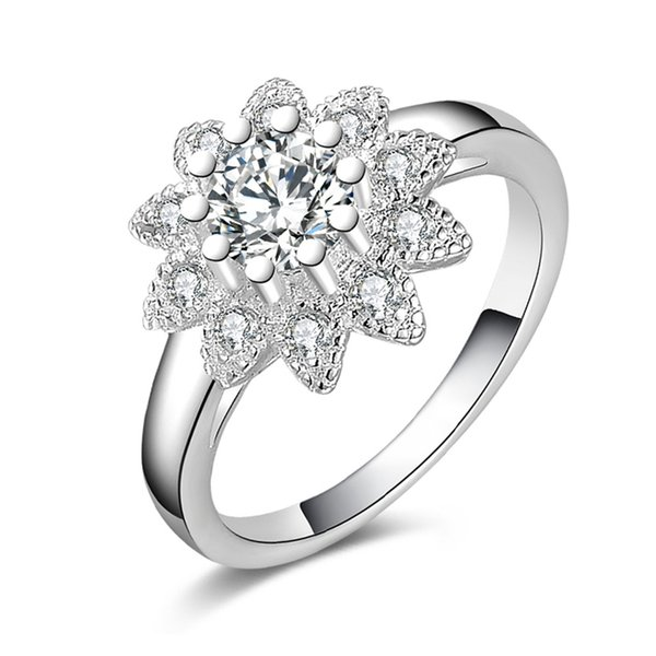 ECODAY Crystal Wedding Rings Women Silver Color Ring Bague Femme Engagement Ring Anillos Joyas Size 8