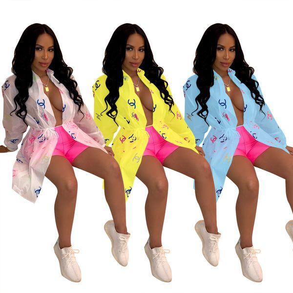 Kadınlar Tasarımcı Kapak Ups Sheer Hırka Duster Uzun Batwing Kollu Kemer Güneş Kremi Gömlek Yaz Coat ile Kemer Beyaz Mavi Sarı S-2XL