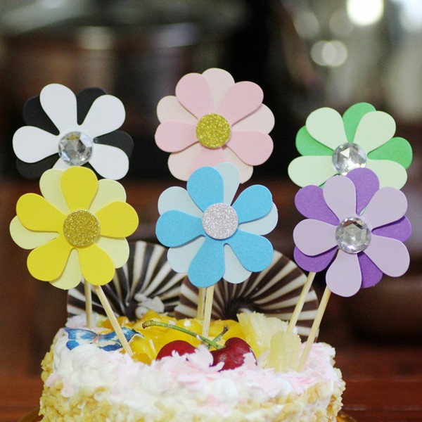 5pcs/set Multicolor Flower Cupcake Toppers Girl Birthday Party Decorations Kids Sakura Cake Supplies Accessories Flower