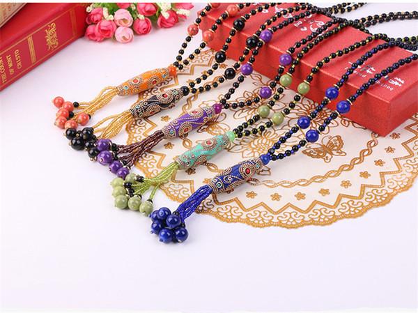 Vente en gros style ethnique élégant Collier Rétro accessoires assortis Perles de Bohême Paragraph longue chaîne souple Clay Pull Femme en gros