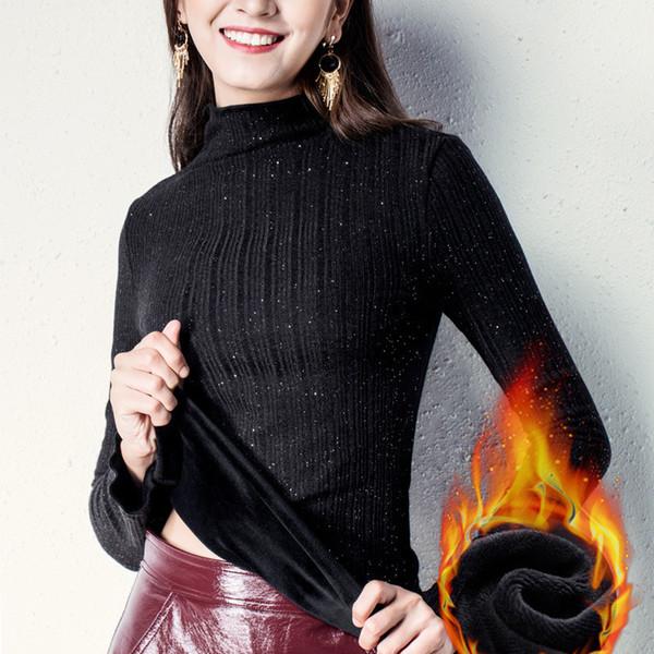 2019 Otoño Invierno Grueso Cálido Suéteres de mujer Camiseta de manga larga Estiramiento Ropa negra Abrigo delgado de cuello alto W-032