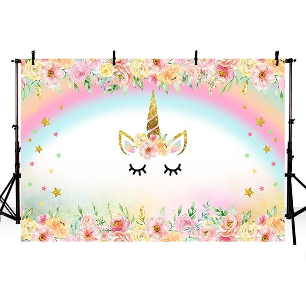 MEHOFOTO Unicorn Party Flower Birthday Baby Newborn Photography Backgrounds Customized Photographic Backdrops For Photo Studio