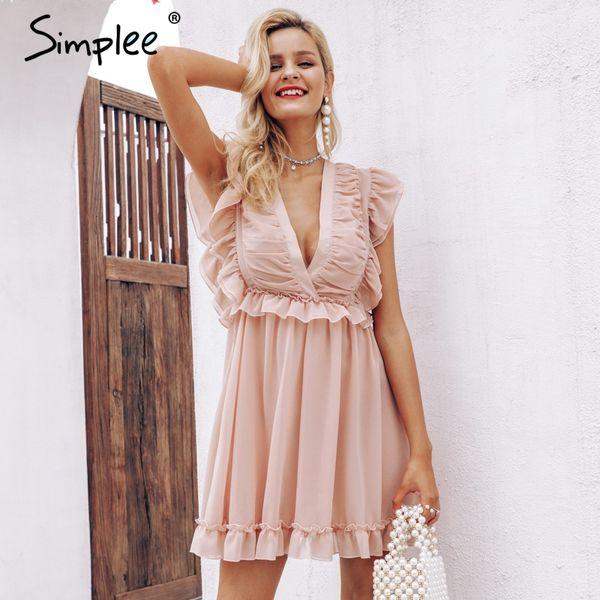 Vente en gros élégantes femmes en mousseline de soie plissée robe Sexy robe d'été à volants v-cou Froncé dans le dos lacer des robes de soirée lignées