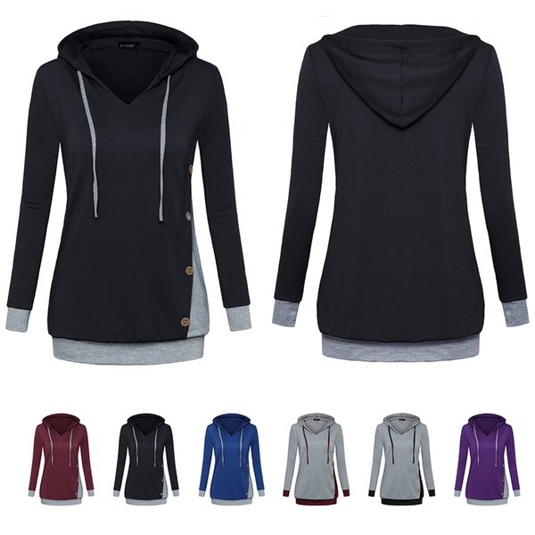 Womens Long Sleeve Cotton Panel Hooded Casual Sweatshirt Tunic Tops With Adjustable Drawstring Tie Button Embellished(,Wine)