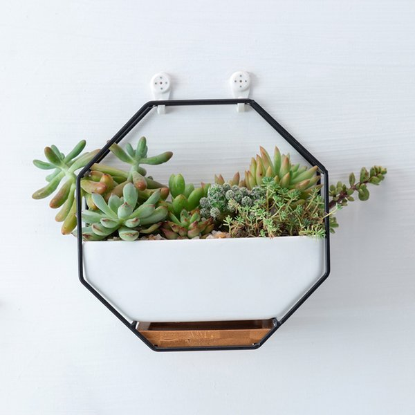Portable Wall Mounted Iron Planter Pot 3pcs Geometric Shape Hanging Flower Trays