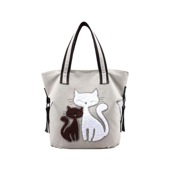Lovely Canvas Cat Print Tote Shoulder Bag Fashion Casual Cute Women Handbag Shopping Hand Bags Shoulder Large Totes Bag Handbags