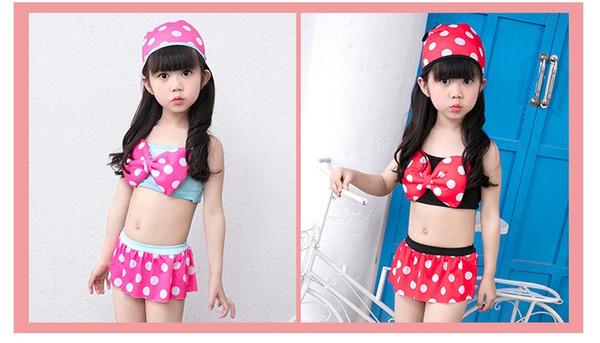 New Girl Three-Piece Bikini Fashion Polka Dot Bow Skirt Swimming Suit Hot Spring Bathing Suits Swimwear With Hap ZH0055