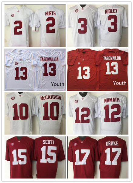 separation shoes 8b203 3871b Youth Alabama Crimson Tide Kids Jersey #13 Tua Tagovailoa 2 Jalen Hurts 3  Ridley College Football Jerseys 10 12 15 17 Boys Red White UK 2019 From ...