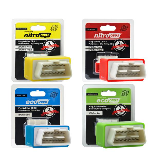 Caja de ajuste de chip de rendimiento Nitro OBD2 para automóvil NitroOBD2 Interfaz OBD Enchufe y conduzca más potencia Más trabajos de torque para automóviles diésel
