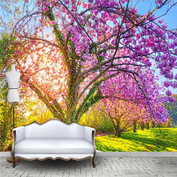 Carta da parati personalizzata foto 3D Cherry Blossom Tree Grande murale Carta da parati floreale per soggiorno TV divano sfondo camera da letto pareti 3D