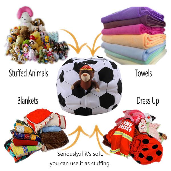 18 pulgadas de juguetes Bolsa de almacenamiento Sentado Silla Bean Bags Fútbol Baloncesto Béisbol Rugby Forma Organizador Peluche Animal Felpa Bean Bags GGA1871