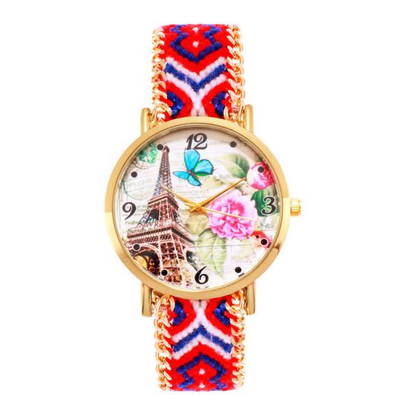 2019 colorful women wool weave eiffel tower butterfly flower bracelet watches fashion ladies students casual dress quartz watch