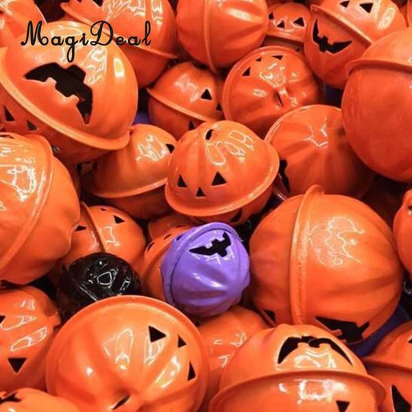 40pcs Christmas Halloween Pumpkin Jingle Bells Charms Pendants Jewelry DIY