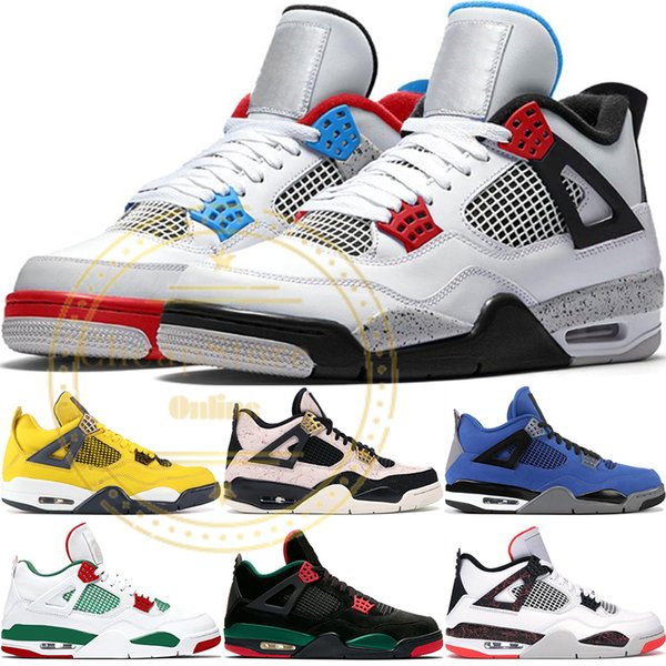 best selling 2019 New Bred 4 4S IV What The Silt Red Splatter Mens Basketball Shoes Denim Blue Eminem Pale Citron Sports Designer Sneakers 41-47