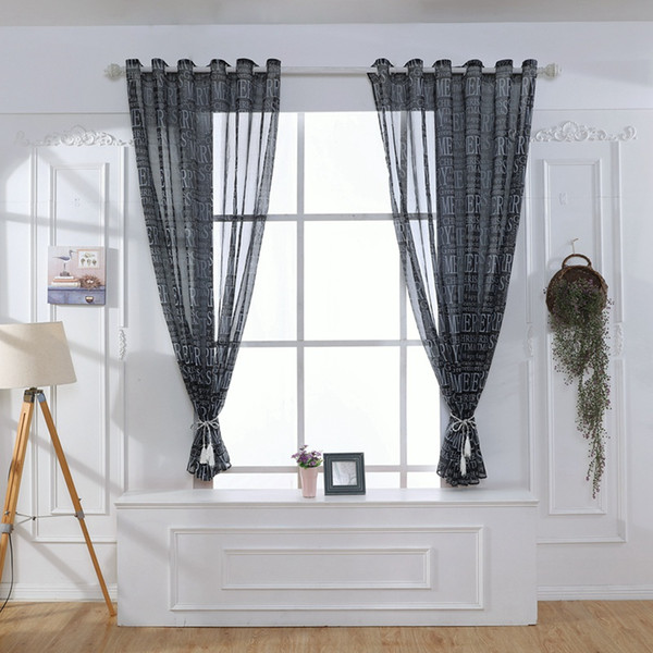 Grommet Curtain For Living Room Bedroom Home Christmas Style Merry Letters Printed Window Semi Sheer Panel Curtain