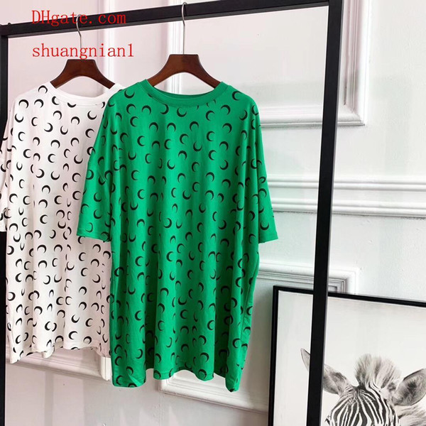 2019 Summer dresses White Full screen moon print short sleeve T-shirt dress casual loose Dresses top quality women clothes AB-5