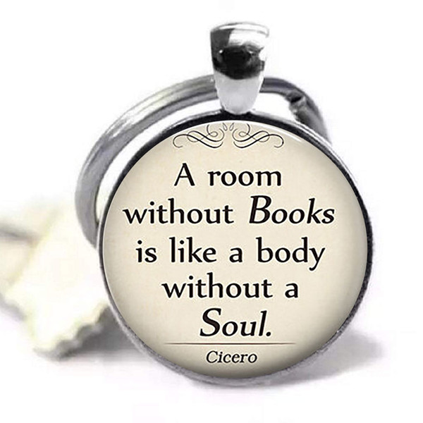 A Room Without Books Cicero Quote Keychain Keyring Book Pendant Glass Dome Gift for Student Teacher