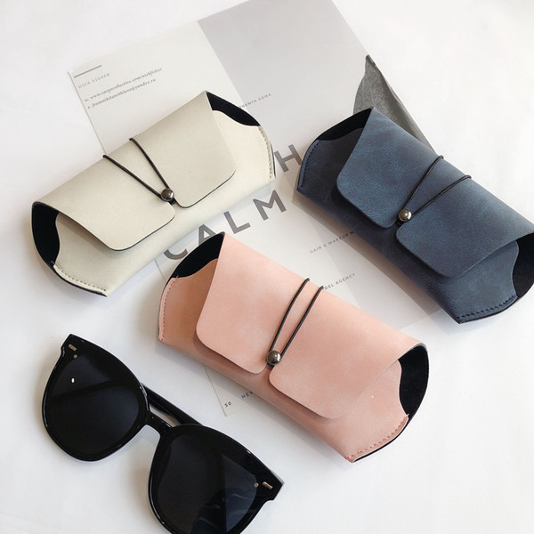 best selling Glasses case and Glasses cloth female creative retro renitency portable male frosted leather sunglasses myopia eyeglasses case package