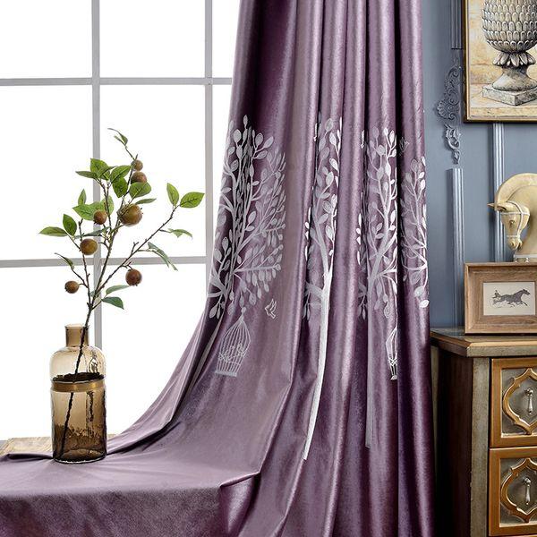 Детские занавес ткани современные детские шторы итальянский бархат вышитые затенение детская забава цитрон фиолетовый, мятно-зеленый небольшой свежий