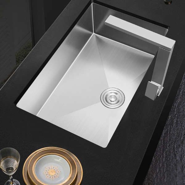 best selling 304 Stainless Steel Kitchen Sink Thickened 3mm Sink Single-slot Brushded Silver Manual Sink 45cm*40cm,50cm *40cm