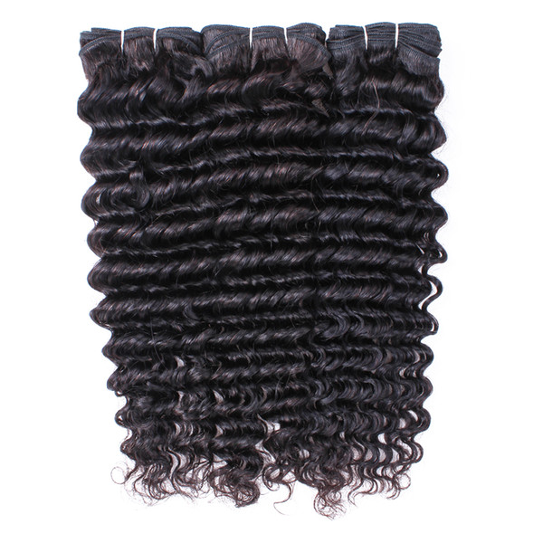 Deep Wave Hair Bundles With Closures Brazilian Remy Human Hair Extensions Natural Color 3 Bundles with 4x4 Lace Closure 10-28 Inch