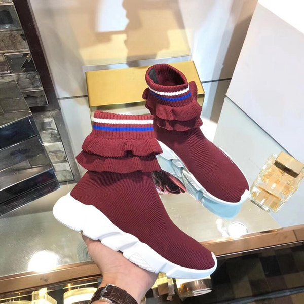 Luxury Speed Sneakers Fold Skirt Mens Womens Sweethearts Couple Sneakers Sock Boot Textile Upper High -Top Stretch Knit Sneaker Boots 08