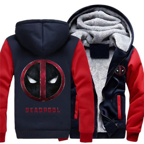 Inverno Hoodies Superhero Deadpool homens mulheres roupas de outono quente camisolas Zipper jaqueta de lã com capuz