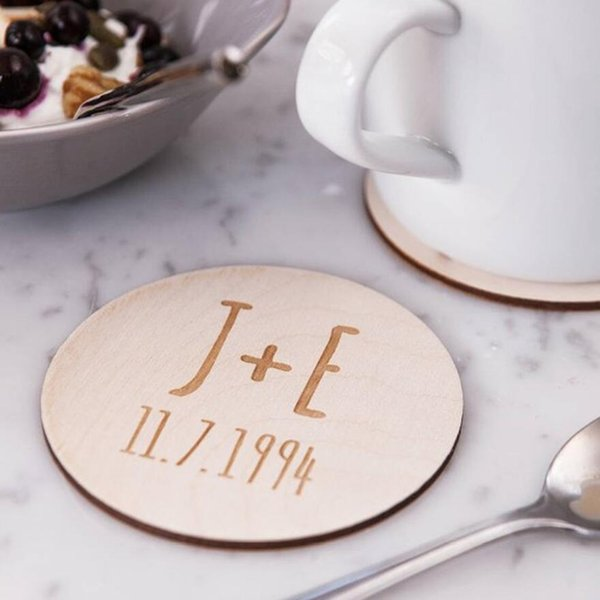 12pcs Personalized Initial Wooden Wedding Coasters Customized Party Favor Coaster Engraved Name and Date Wedding Favors Supplies