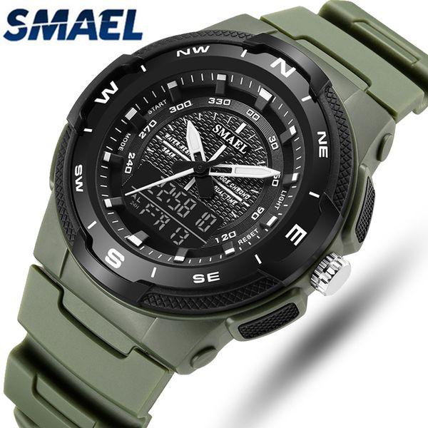 SMAEL New Fashion Dual Time Analog Quartz Watch Men Sport Clock Waterproof LED Digital Watches Mens Relogio Masculino