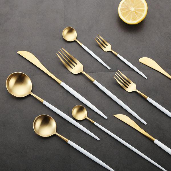Portugal talheres faca e garfo colher 304 ocidentais utensílios de mesa de aço inoxidável punho Branco dourado apontou cauda talheres 100 conjuntos h128