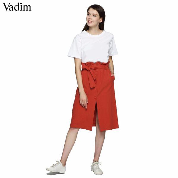 ce4b798ba4 Vadim mujer elegante corbata de lazo fajas falda Una línea plisada  bolsillos delanteros divididos botones damas