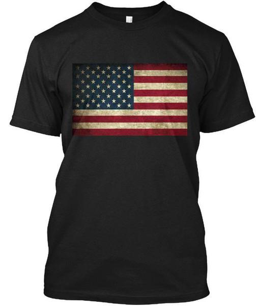 Grunge Bandeira Americana Atacado Legal Casual Mangas de Algodão Por Atacado T-Shirt Da Moda Nova T Camisas Unisex Engraçado Tops Tee Tee Tagless T-Shirt