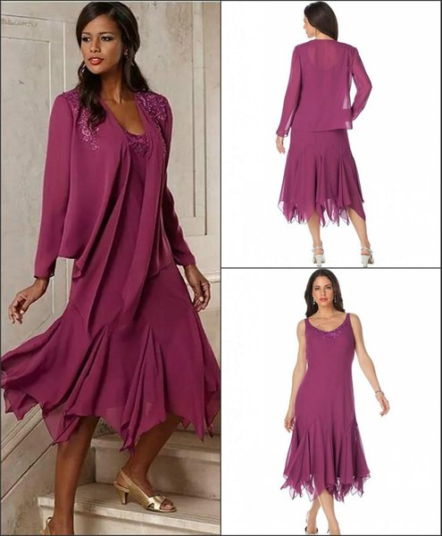 2019 Elegant Appliqued Mother Of The Bride Dresses With Jacket Tea Length A-Line Chiffon Mother Dress Simple Cheap Weddings Guest Dresses