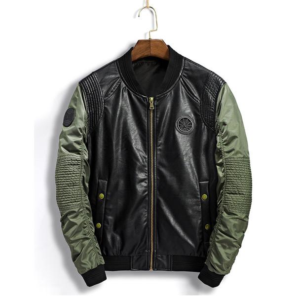 2019 Pleated Bomber Jacket Men Stand Collar Badge Patchwork Male PU Leather Jacket Motorcycle Men Windbreaker Coat